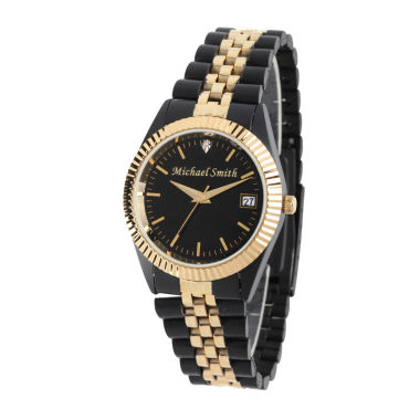 jcpenney.com | Personalized Mens Black And Gold Tone Diamond Accent Bracelet Watch