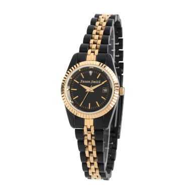jcpenney.com | Personalized Womens Black And Gold Tone Diamond Accent Bracelet Watch