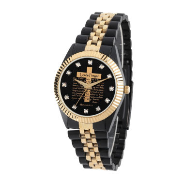 jcpenney.com | Personalized Mens Black And Gold Tone Cross Bracelet Watch