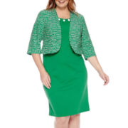 Maya Brooke 3/4-Sleeve Geo-Print Jacket and Dress - Plus