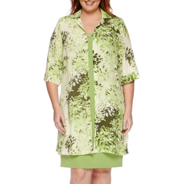 jcpenney.com | Maya Brooke 3/4-Sleeve Floral Duster Jacket and Dress - Plus