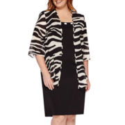 Maya Brooke 3/4-Sleeve Zebra Duster Jacket and Dress - Plus
