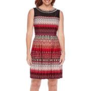 Studio 1® Sleeveless Sheer Embellished Neck Fit-and-Flare Dress