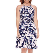 London Style Collection Sleeveless Halter Floral Fit and Flare Dress - Petite