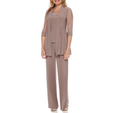 jcpenney.com | R&M Richards Sheer 3/4-Sleeve Jacket and Pants Suit - Petite