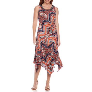 jcpenney.com | Robbie Bee® Sleeveless Embellished Neck Belted Handkerchief-Hem Dress - Petite