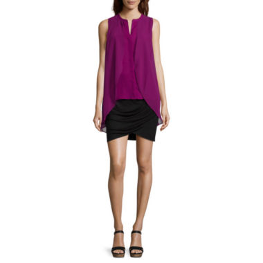 jcpenney.com | a.n.a® Chiffon Overlay Button-Front Tank Top or Wrap Skirt - Tall