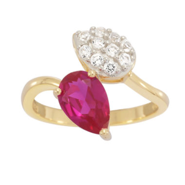 jcpenney.com | Lab Created Ruby & White Sapphire 14K Gold Over Silver Ring
