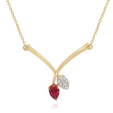 jcpenney.com | Lab Created Ruby & White Sapphire 14K Gold Over Silver Necklace