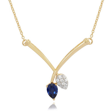 jcpenney.com | Lab Created Blue & White Sapphire In 14K Gold Over Silver Necklace 1