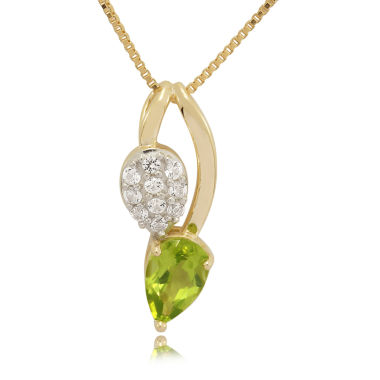 jcpenney.com | Genuine Peridot And Lab-Created White Sapphire 14K Gold Over Silver Pendant