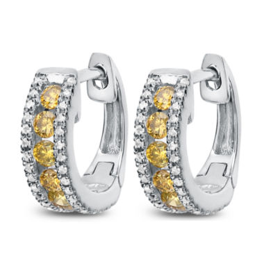 jcpenney.com | 1/2 White And Color Enhanced Yellow Diamond White Gold Hoop Earring