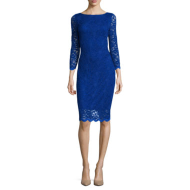 jcpenney.com | Tiana B. 3/4-Sleeve Allover Lace Dress - Tall
