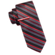 JF J. Ferrar® Atlantic Avenue Thin Stripe Tie and Tie Bar Set