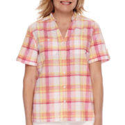 Alfred Dunner® Tropical Punch Short-Sleeve Plaid Burnout Blouse - Petite