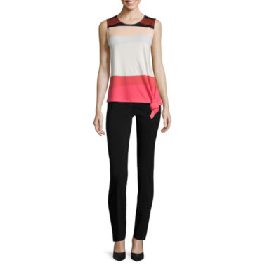 jcpenney.com | Liz Claiborne® Sleeveless Side-Knot Tee or Braided-Trim Pocket Pants - Petites