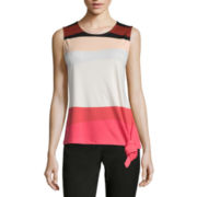 Liz Claiborne® Sleeveless Side-Knot Tee  - Misses and Petites