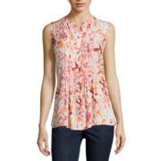 Liz Claiborne® Sleeveless Button-Front Pintuck Blouse