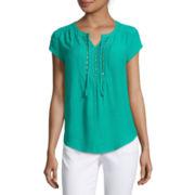 Liz Claiborne® Short-Sleeve Embellished Peasant Top - Petite