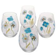 Certified International Greenhouse Set of 4 Stemless Wine Glasses