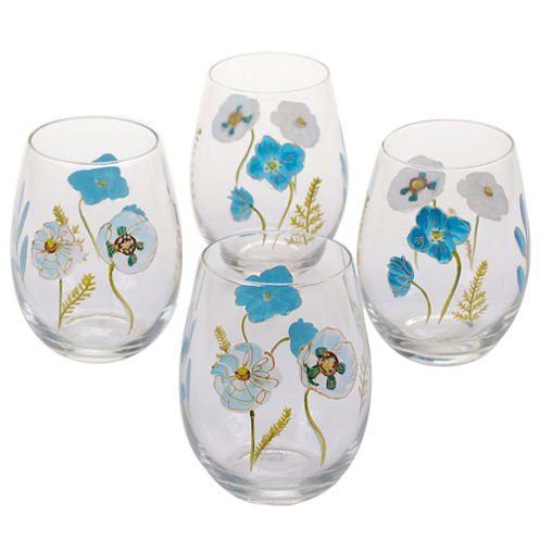 Certified International Greenhouse Set of 4 Stemless Wine Glasses