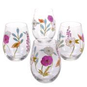 Certified International Rainbow Seeds Set of 4 Hand-Painted Stemless Wine Glasses
