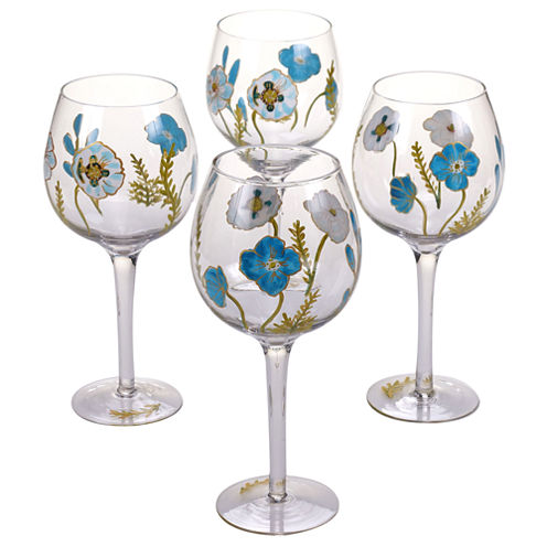 Certified International Greenhouse Set of 4 Hand-Painted Wine Glasses
