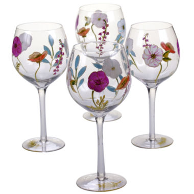 jcpenney.com | Certified International Rainbow Seeds Set Of 4 Hand Painted Wine Glasses