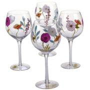 Certified International Rainbow Seeds Set Of 4 Hand Painted Wine Glasses
