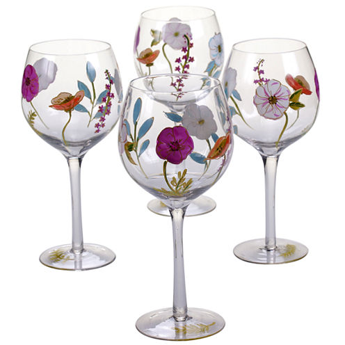 Certified International Rainbow Seeds Set Of 4 Hand Painted Wine Glasses