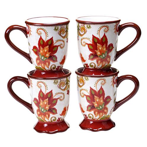Certified International Spice Flowers Set of 4 Mugs