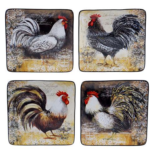 Certified International Vintage Rooster Set Of 4 Dessert Plates