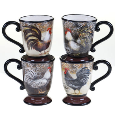 jcpenney.com | Certified International Vintage Rooster Set Of 4 Mugs