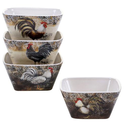 Certified International Vintage Rooster Set Of 4 Ice Cream Bowls