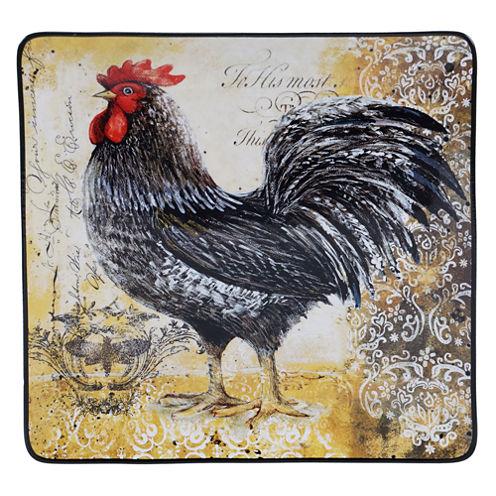 Certified International Vintage Rooster Square Platter