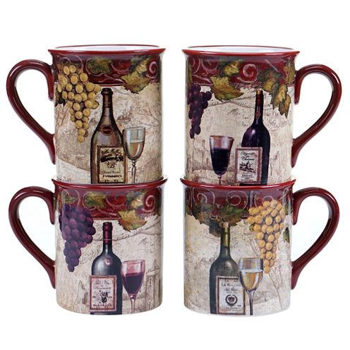 Certified International Wine Tasting Set Of 4 Mugs