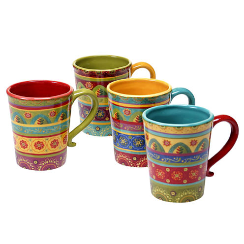 Certified International Tunisian Sunset Set Of 4 Mugs