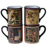 Certified International French Country Set Of 4 Mugs