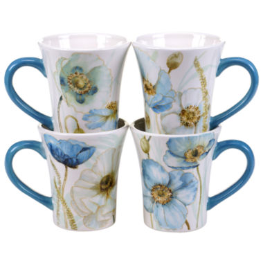 jcpenney.com | Certified International Greenhouse Set of 4 Poppies Mugs