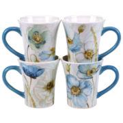 Certified International Greenhouse Set of 4 Poppies Mugs