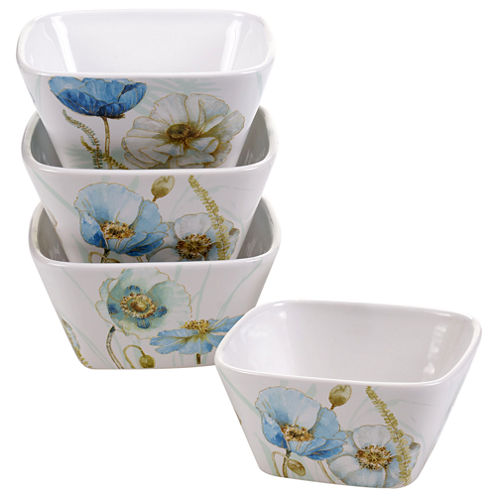 Certified International Greenhouse Set of 4 Poppies Bowls