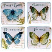 Certified International Greenhouse Set of 4 Butterfly Dessert Plates