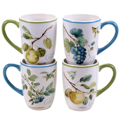 Certified International Greenhouse Set of 4 Fruit Mugs