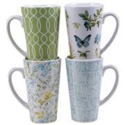 Certified International Greenhouse Set of 4 Latte Mugs