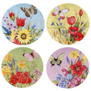 Certified International Floral Bouquet Set Of 4 Dessert Plates