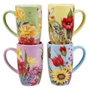 Certified International Floral Bouquet Set of 4 Mugs