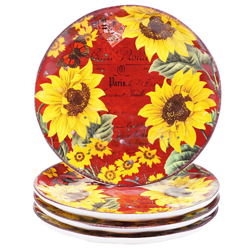 Certified International Sunflower Meadow Set of 4 Dessert Plates