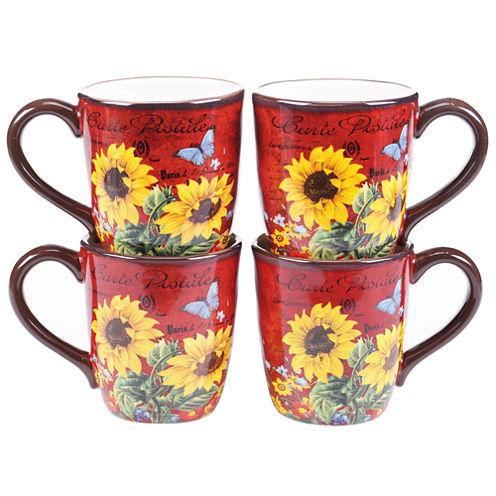Certified International Sunflower Meadow Set of 4 Mugs