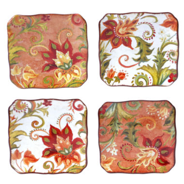 jcpenney.com | Certified International Spice Flowers Set of 4 Canapé Plates