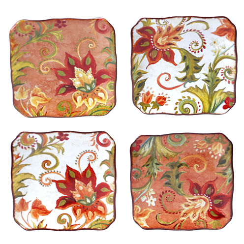 Certified International Spice Flowers Set of 4 Canapé Plates